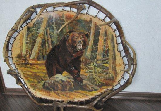 Подарок охотнику - панно в раме из оленьих рогов