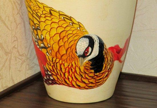 Фрагмент вазы. Авторская ручная роспись.